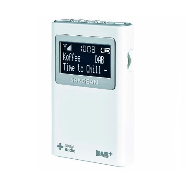 Sangean dpr-39 blanco radio digital bolsillo fm con rds y dab+ pantalla lcd batería