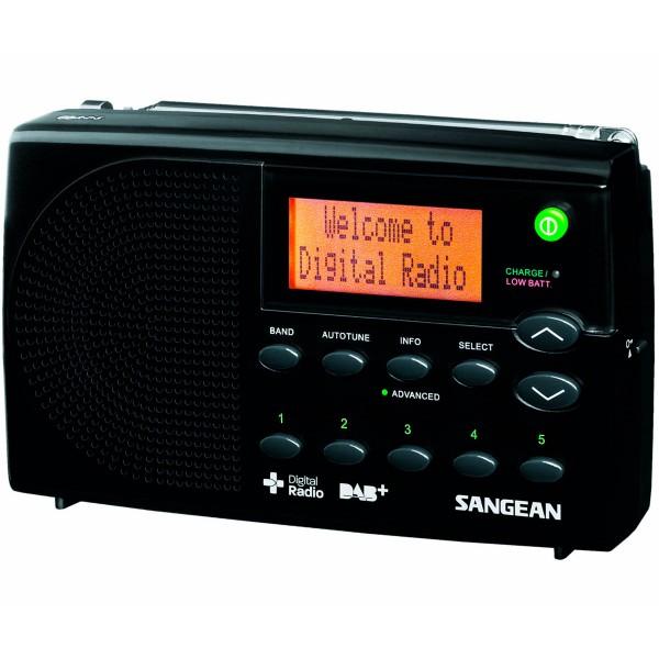 Sangean dpr-65 negro radio digital portátil fm con rds y dab+ pantalla lcd batería recargable