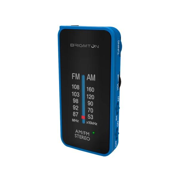 Brigmton bt-224-a azul radio analógica am/fm portátil